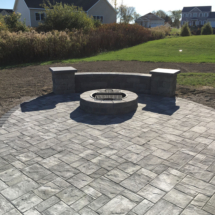 cambridge patio with sitting wall and fire pit copy